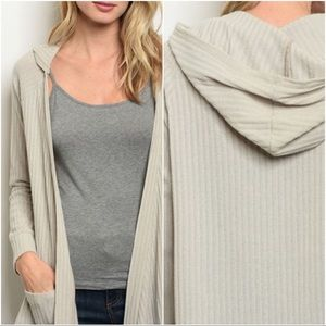 Sweaters - Ribbed Hoodie Pocket Cardigan Slouch Sweater